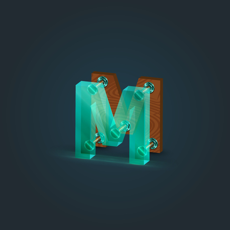 Realistic wood and glass character from a typeset, vector illustration