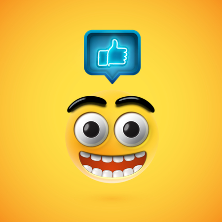 High detailed smiley with thumbs up sign, vector illustration 写真素材 - 120461102