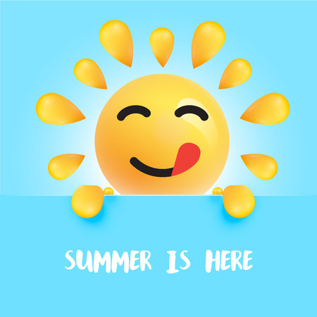 Funny sun-smiley with the title  summer is here, vector illustration