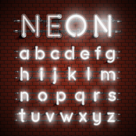 Conjunto de fuentes de neón alto detallado, ilustración vectorial Ilustración de vector
