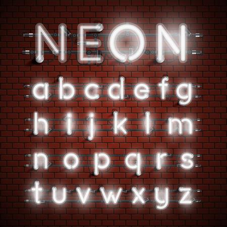 Set di caratteri al neon altamente dettagliati, illustrazione vettoriale Vettoriali