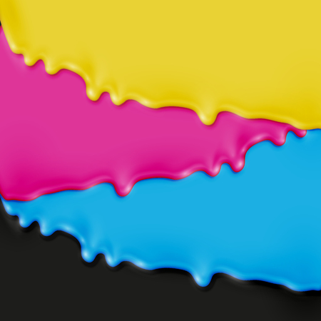 CMYK realistic paint, vector illustration