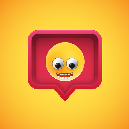 Realistic 3D emoticon in a 3D speech bubble, vector illustration