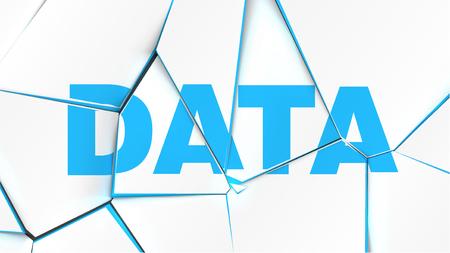 Word of 'DATA' on a broken white surface, vector illustration