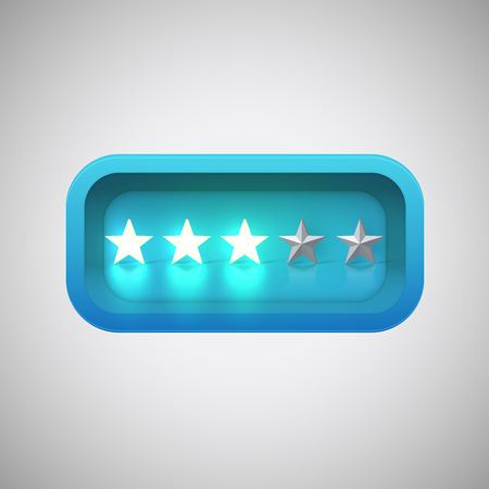 Glowing blue star rating in a realistic shiny box, vector illustration