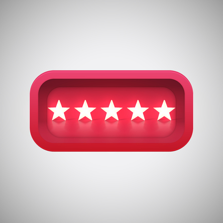Glowing red star rating in a realistic shiny box, vector illustration Illustration
