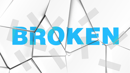Word of BROKEN on a broken white surface, vector illustration