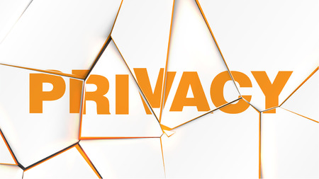 Word of PRIVACY on a broken white surface, vector illustration
