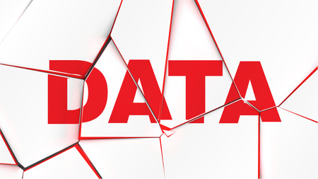 Word of DATA on a broken white surface, vector illustration