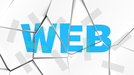 Word of WEB on a broken white surface, vector illustration