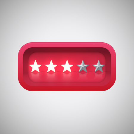 Glowing red star rating in a realistic shiny box, vector illustration Vektorové ilustrace
