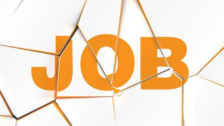 Word of JOB on a broken white surface, vector illustration