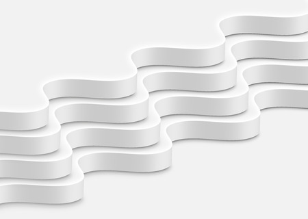 High-detailed abstract white waves, vector illustration  イラスト・ベクター素材