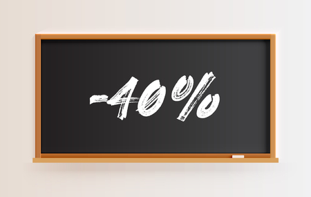 High detailed blackboard with -40% title, vector illustration