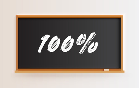 High detailed blackboard with 100% title, vector illustration