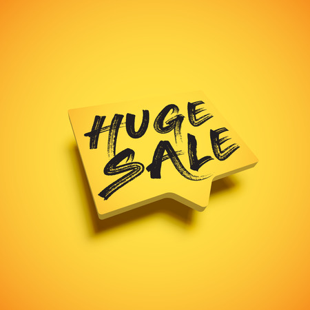 High-detailed red speech bubble with HUGE SALE title, vector illustration