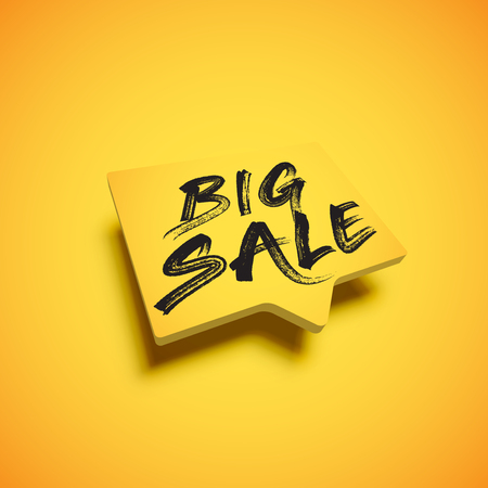 High-detailed yellow speech bubble with BIG SALE title, vector illustration