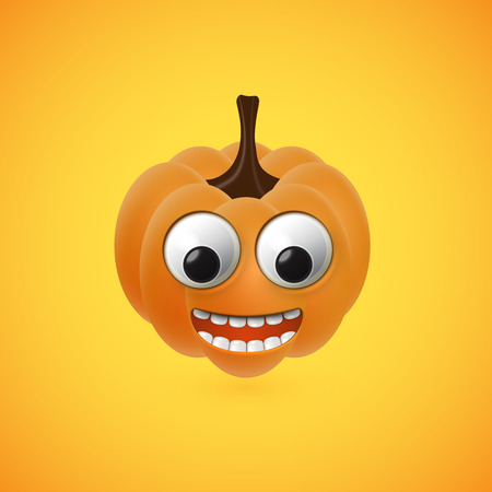 Funny halloween pumpkin face for kids, vector illustration Illustration
