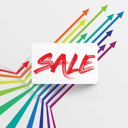 Colorful and clean template with Sale title and arrows, vector illustration