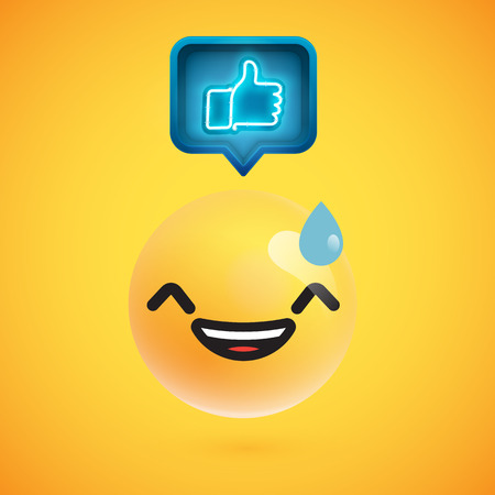 High detailed emoticon with thumbs up sign, vector illustration