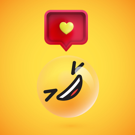 Cute high-detailed yellow emoticon with speech bubble and heart for web, vector illustration