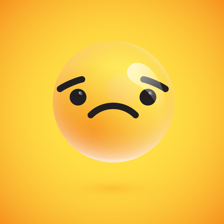 Cute high-detailed yellow emoticon for web, vector illustration Ilustração