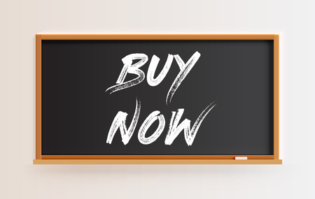 High detailed blackboard with BUY NOW title, vector illustration