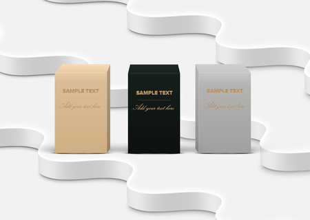 Realistic high-detailed product boxes on white background, vector illustration Banco de Imagens - 123125987
