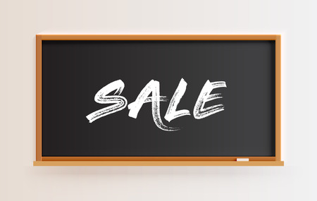 High detailed blackboard with SALE title, vector illustration