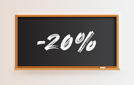 High detailed blackboard with -20% title, vector illustration