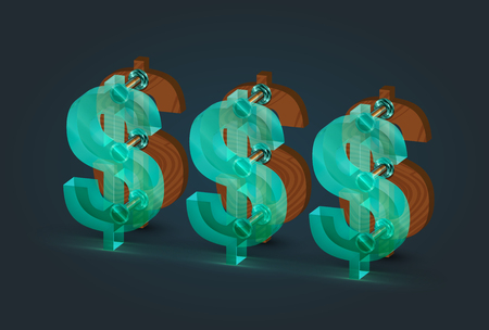 High-detailed wood and glass dollar characters, vector illustration