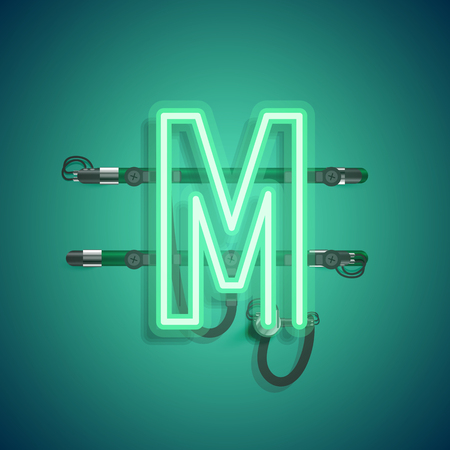 Realistic neon character with wires and console, vector illustration Illustration