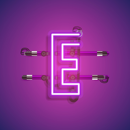 Realistic neon character with wires and console, vector illustration Imagens - 122864670