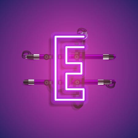Realistischer Neoncharakter mit Drähten und Konsole, Vektorillustration Vektorgrafik