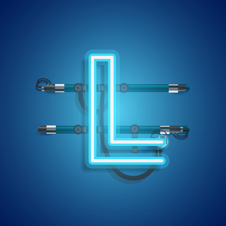 Realistic neon character with wires and console, vector illustration Stock Illustratie