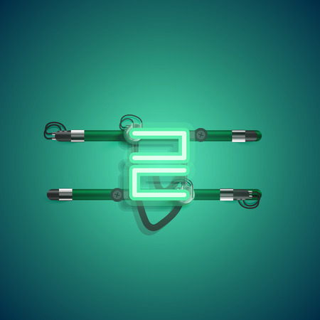 Realistic neon character with wires and console, vector illustration Vectores