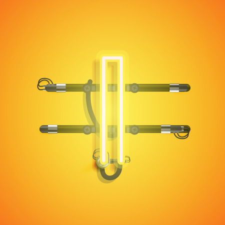Realistic neon character with wires and console, vector illustration Çizim