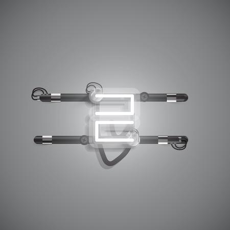 Personaje de neón realista con cables y consola, ilustración vectorial
