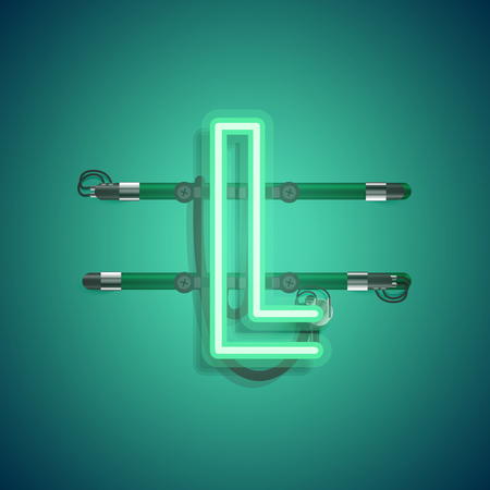 Realistic neon character with wires and console, vector illustration Ilustração