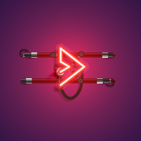 Realistic neon character with wires and console, vector illustration Ilustrace