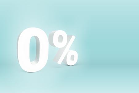 3D '0%' sign, vector illustration
