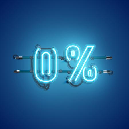 Signo realista de neón '0%', ilustración vectorial