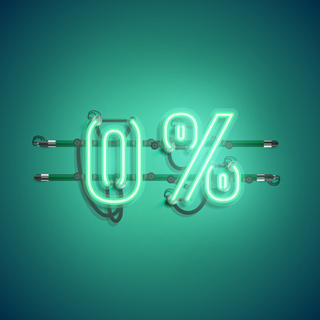 '0%' neon realistic sign, vector illustration