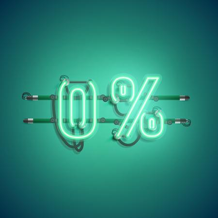 '0%' neon realistic sign, vector illustration