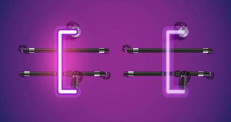 Realistic glowing purple neon charcter on and off Stock Illustratie
