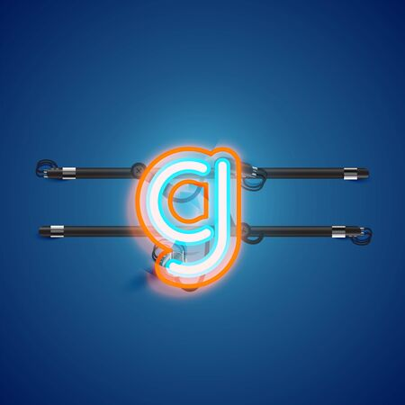 Realistic glowing double neon charcter on and off from a fontset, vector illustration Illusztráció