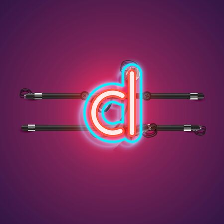 Realistic glowing double neon charcter from a fontset with console, vector illustration