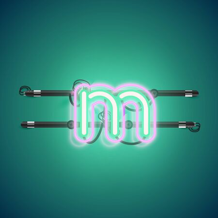 Realistic glowing double neon charcter on and off from a fontset, vector illustration Illustration