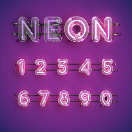 Realistic purple neon character set with plastic case around, vector illustration Illusztráció