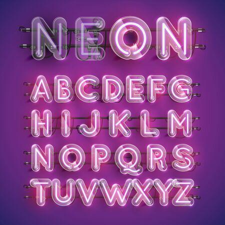 Jeu de caractères néon violet réaliste avec boîtier en plastique autour, illustration vectorielle